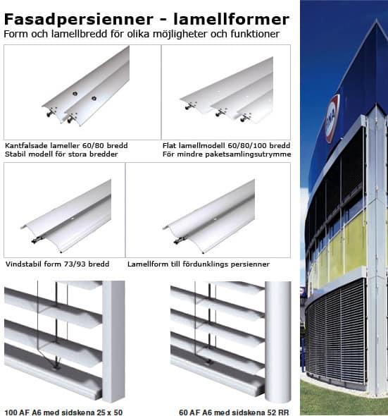 Fasadpersienner-Lamellform