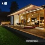 Terrassmarkis / vikarmsmarkis modell K70 med LED belysning